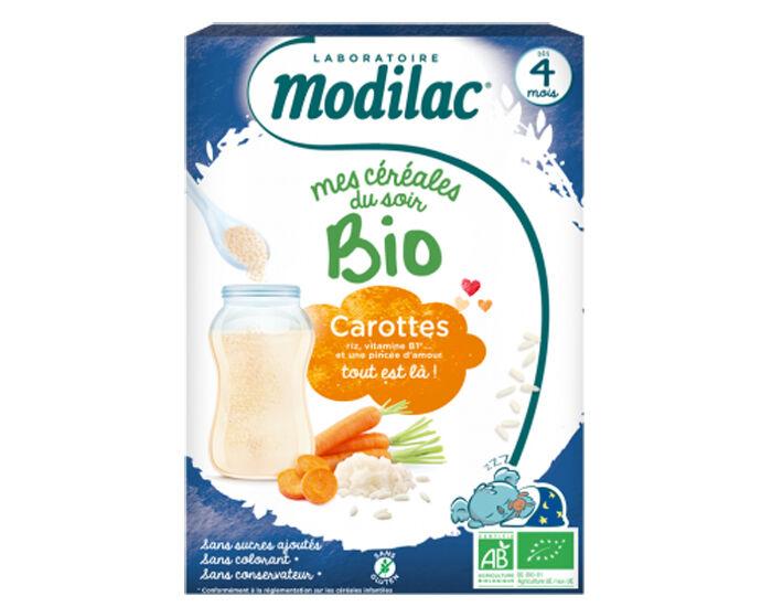 MODILAC Mes Céréales Bio du Soir Riz Carottes - 250 g - Dès 4 mois