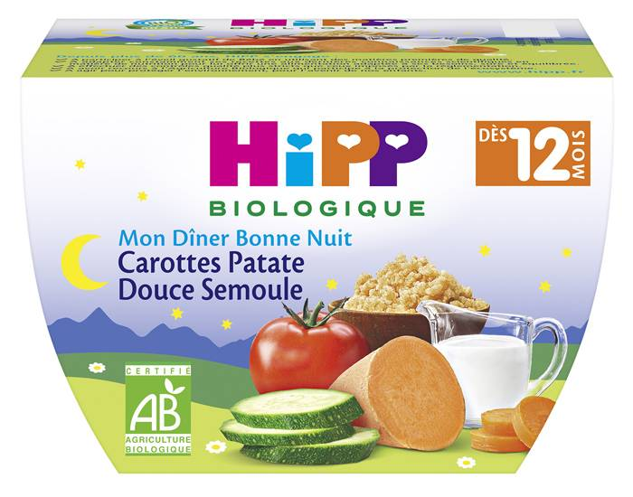 HIPP Bol Mon Dîner Bonne Nuit Carotte Patate Douce Semoule - 220g - 12M