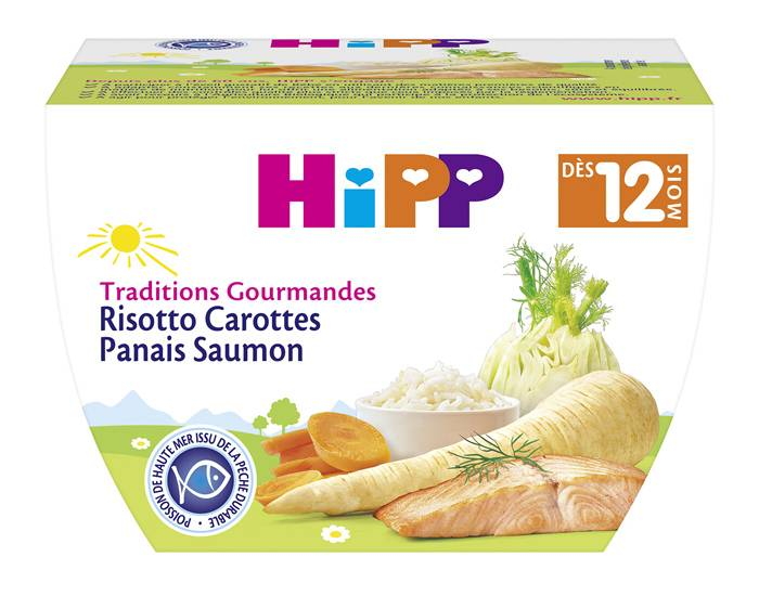HIPP Bol Traditions Gourmandes - 220g Risotto Carotte Panais Saumon - 12M