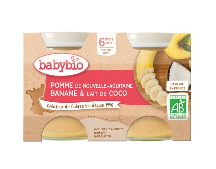 BABYBIO Mes Fruits - 2 x 130 g Pomme d'Aquitaine Banane Lait de Coco - Dès 6 mois