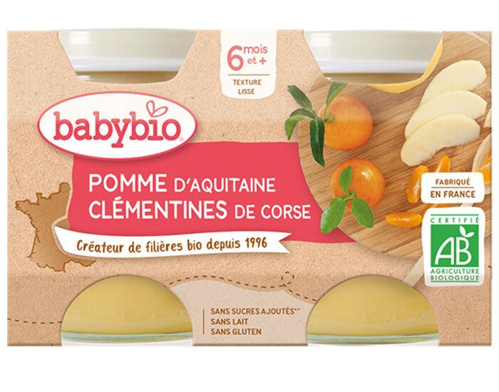 BABYBIO Mes Fruits - 2 x 130 g Pomme d'Aquitaine Clémentine de Corse - 6 mois