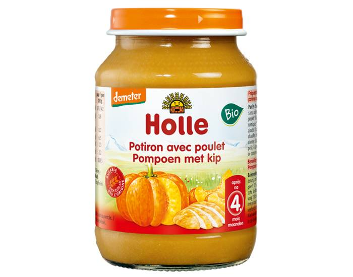 HOLLE Petit Pot Menu Potiron - Poulet - 4M