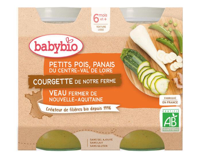BABYBIO Petits Pots Menu du Jour - 2 x 200g - Dès 6 Mois Petits Pois Panais Courgette Veau