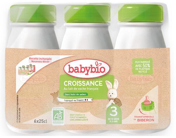 BABYBIO Croissance Liquide - Dès 10 Mois - 6 x 25 cl