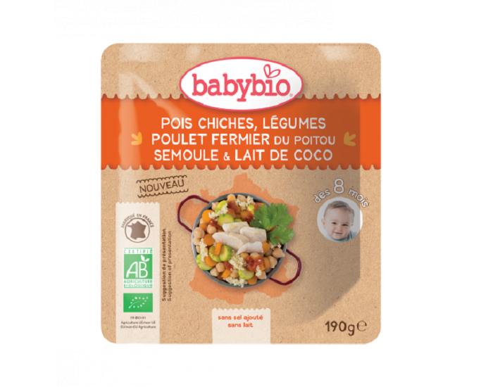 BABYBIO Sachet Menu du Jour - 190g - Dès 8 Mois Pois Chiches Légumes Poulet Fermier du Poitou Semoule Lait de Coco