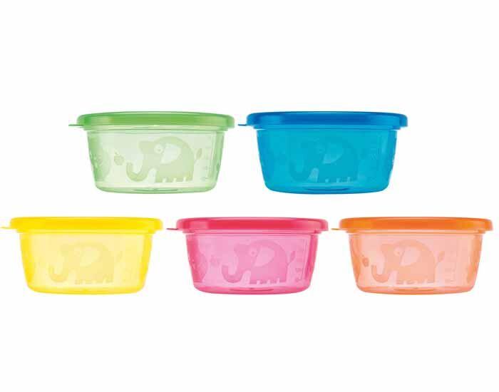 NUBY Pots de Conservation Colorés - 300 ml - Lot de 6