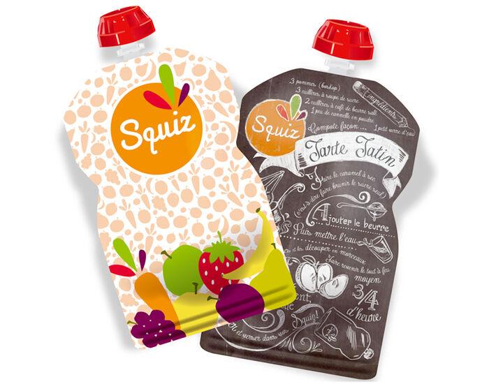 SQUIZ Lot de 2 Gourdes Réutilisables - Tatin et Fruits Colorés - 130 ml