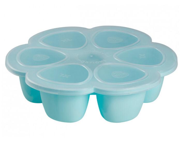 BéABA BEABA Set de Congélation pour les Repas de Bébé - 6 x 90 ml - Bleu