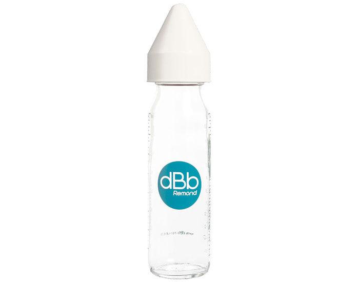 DBB REMOND Biberon en Verre 240 ml - Tétine Caoutchouc Blanc