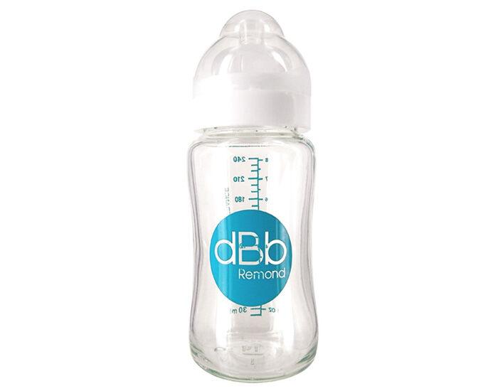 DBB REMOND Biberon Verre Col Large Ouverture - Tétine Silicone - 240 ml Blanc
