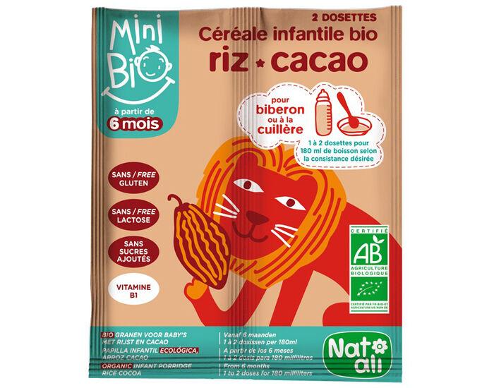 NAT-ALI Mini Bio Céréales Infantiles Riz Cacao - 2 x 8 g
