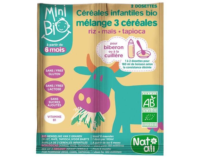 NAT-ALI Mini Bio Céréales Infantiles Mélange 3 Céréales - 2 x 9 g - Dès 6 mois