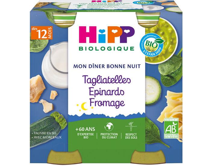 HIPP Mon Diner Bonne Nuit - 2 x 250 g Tagliatelles - Epinards - Fromage - 12M