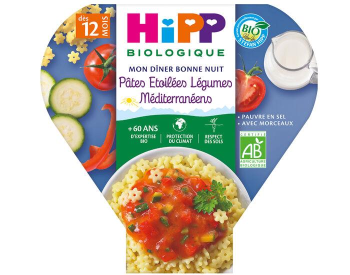 HIPP Assiette Mon Diner Bonne Nuit - 200, 230g ou 260g Pâtes Étoilées Légumes Méditérranéens - 12M