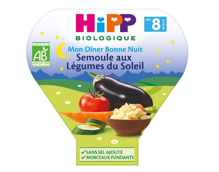 HIPP Assiette Mon Diner Bonne Nuit - 200, 230g ou 260g Semoule aux Légumes du Soleil - 8M