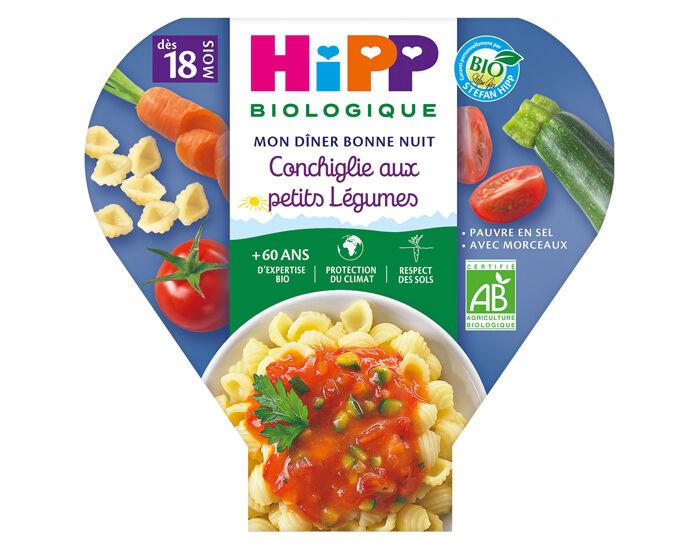 HIPP Assiette Mon Diner Bonne Nuit - 200, 230g ou 260g Conchiglie aux petits légumes - 18M