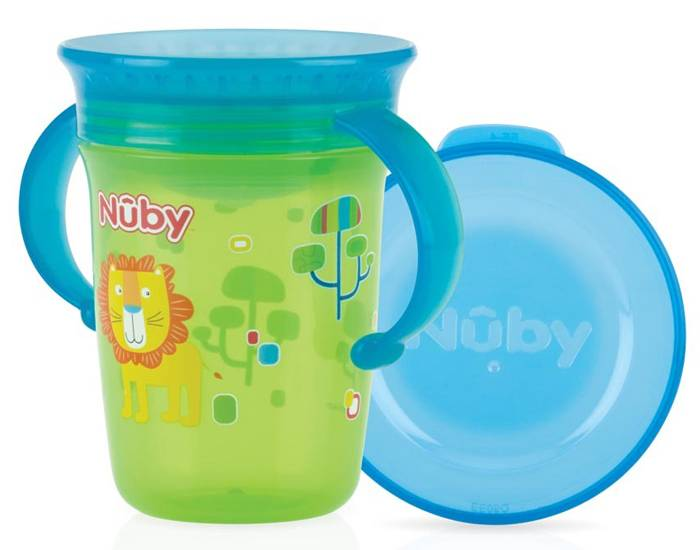 NUBY Gobelet Magique 360o Green avec Anses - 240ml - 6+ mois