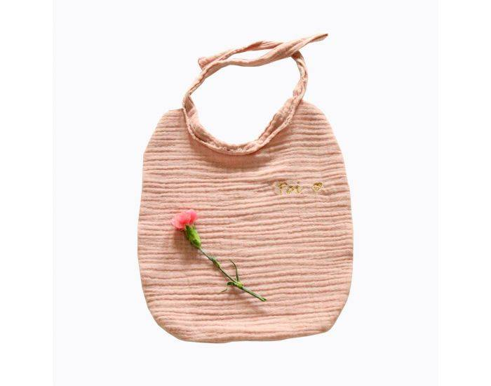 CHOUCHOUETTE Bavoir à nouer double gaze de coton Vieux Rose
