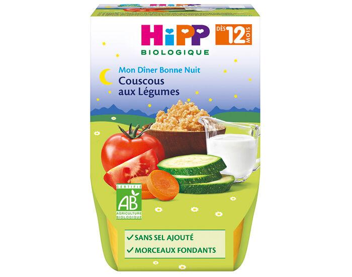 HIPP Bol Mon Dîner Bonne Nuit - dès 8 ou 12 mois Couscous aux Légumes - 2x220g - 12M