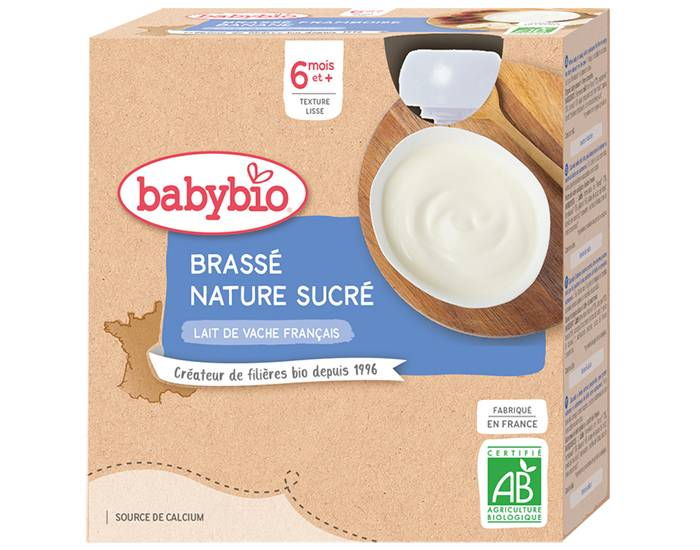 BABYBIO Gourde Dessert Lacté Brassé - Dès 6 Mois - 4 x 85g Nature