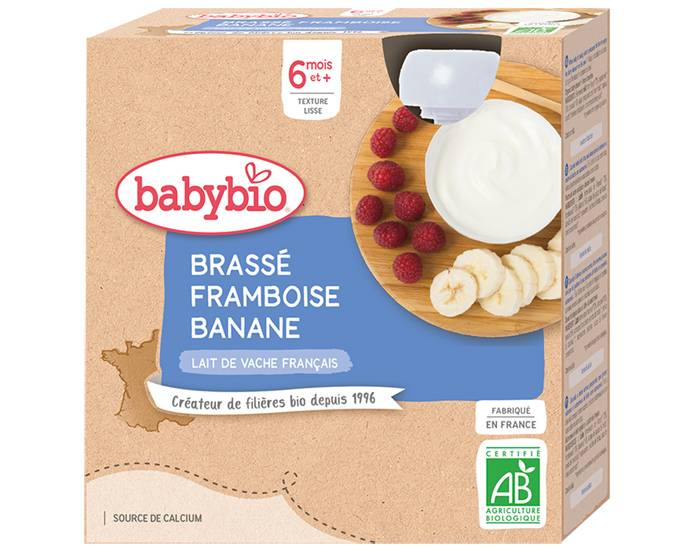 BABYBIO Gourde Dessert Lacté Brassé - Dès 6 Mois - 4 x 85g Framboise Banane