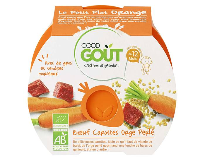 GOOD GOûT GOOD GOUT PETIT PLAT pour Bébé 220 g - Boeuf CAROTTES Orge Perlé - Dès 12 mois