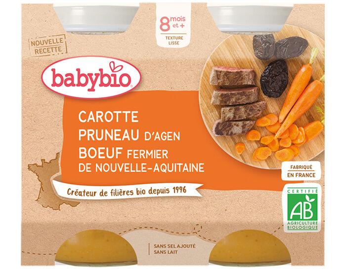 BABYBIO Petits Pots Menu du Jour - 2x200g - Dès 8 mois Carotte Pruneau Boeuf Fermier - 8 mois