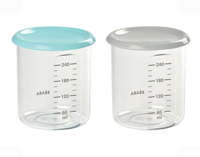 BéABA BEABA Lot de 2 Pots de Conservation Maxi Portion - 240 ml Light Blue - Grey