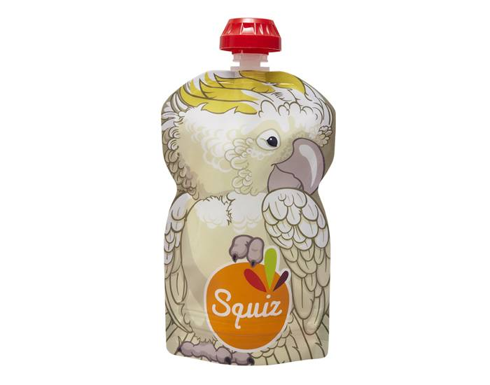 SQUIZ Gourde Souple Réutilisable Cacatoès - 130 ml