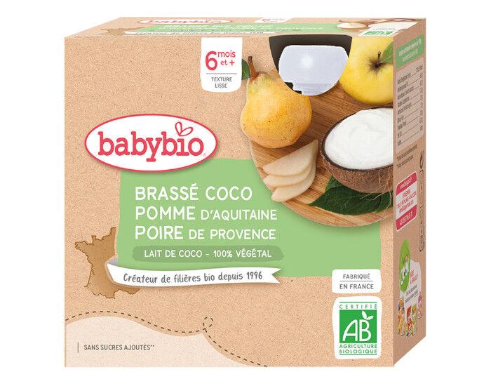 BABYBIO Gourde Brassé Végétal - 4x85 g - Dès 6 mois Lait de Coco Pomme d'Aquitaine Poire