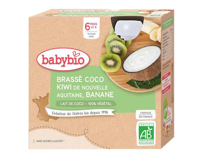 BABYBIO Gourde Brassé Végétal - 4x85 g - Dès 6 mois Lait de Coco Kiwi d'Aquitaine Banane