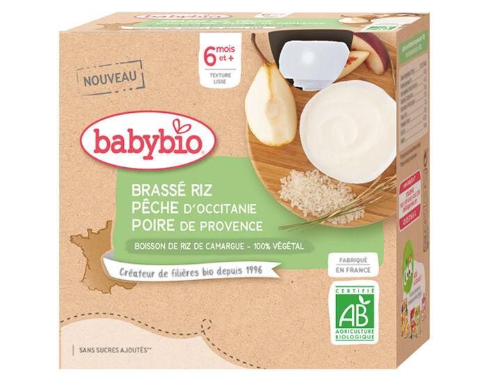 BABYBIO Gourde Brassé Végétal - 4x85 g - Dès 6 mois Riz Pêche d'Occitanie Poire de Provence