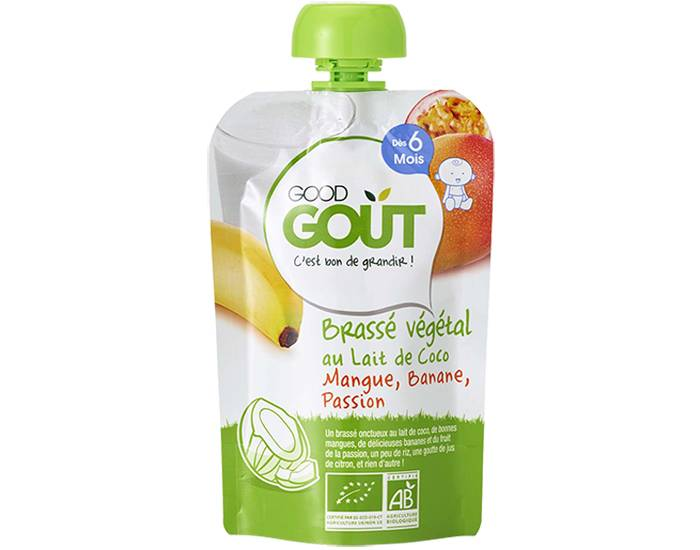 GOOD GOûT GOOD GOUT Pack 10 Gourdes Brassé Végétal - Dès 6 mois - 90 g Gourde Brassé Végétal Lait de Coco Mangue Banane Passion - 90g - 6m