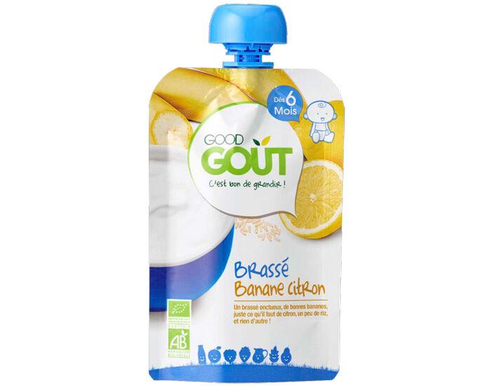 GOOD GOûT GOOD GOUT Pack 10 Gourdes Brassé - Dès 6 mois - 90 g  Gourde Brassé Banane Citron - 90g - Dès 6 mois