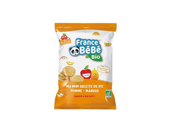 FRANCE BÉBÉ BIO Pack 6 Sachets Mini Galette De Riz - Pomme Mangue - Dès 7 mois - 6x40g