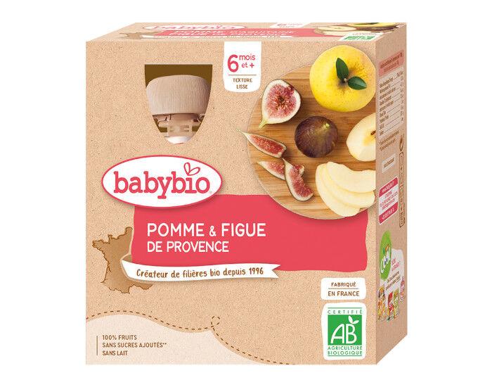 BABYBIO Gourdes - 4x90g - Dès 6 mois Pomme - Figue de Provence