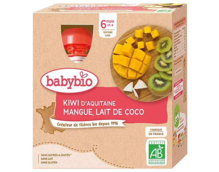 BABYBIO Gourdes - 4x90g - Dès 6 mois Kiwi - Mangue - Lait de Coco