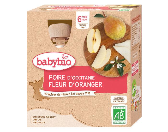 BABYBIO Gourdes - 4x90g - Dès 6 mois Poire - Fleur d'Oranger