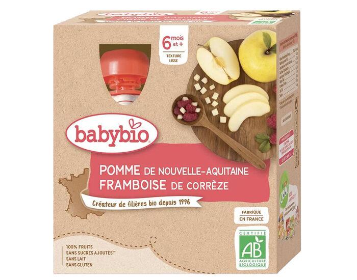 BABYBIO Gourdes - 4x90g - Dès 6 mois Pomme - Framboise