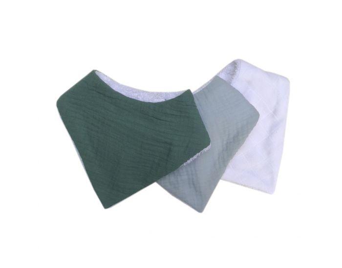 CAROTTE et CIE Lot de 3 mini bavoirs en coton bio unis vert eucalyptus-bleu glacier-blanc.