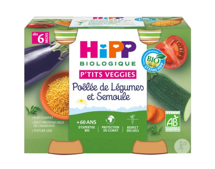HIPP Ptits Veggies - 2 x 190 g Poêlée de Légumes et Semoule