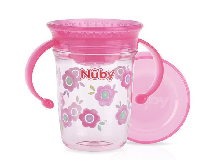 NUBY Gobelet Magique 360o avec Anses - 240 ml Rose