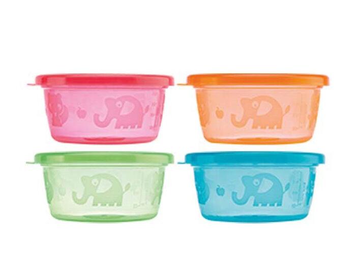 NUBY Pots de Conservation Colorés - 240 ml - Lot de 4