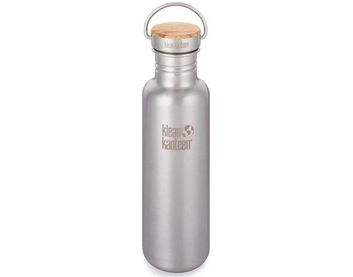 KLEAN KANTEEN Gourde Inox Reflect Bouchon Inox et Bambou - Brusched Stainless - 800 ml