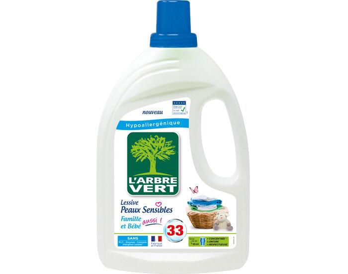 L'ARBRE VERT Lessive Liquide Peaux Sensibles Famille et Bébé Bidon 1.5L