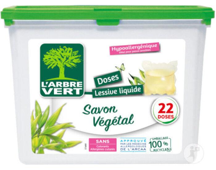 L'ARBRE VERT Lessive Doses Liquides Savon Végétal - 22 Lavages