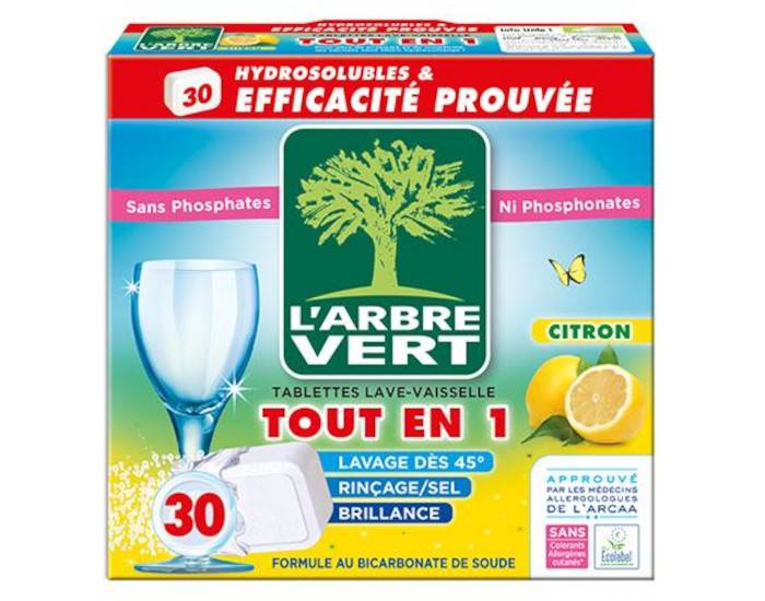 L'ARBRE VERT Tablettes Lave-Vaisselle Tout En 1 Citron - 30 Doses