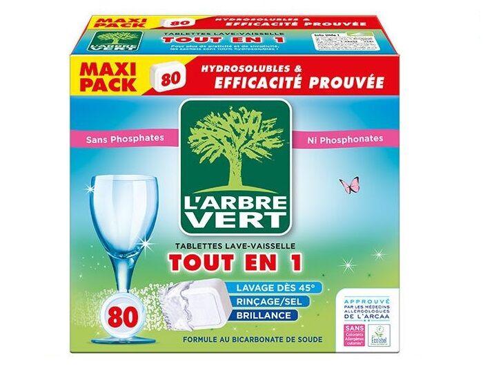 L'ARBRE VERT Tablettes Tout En 1 - 80 Doses - 1,450kg
