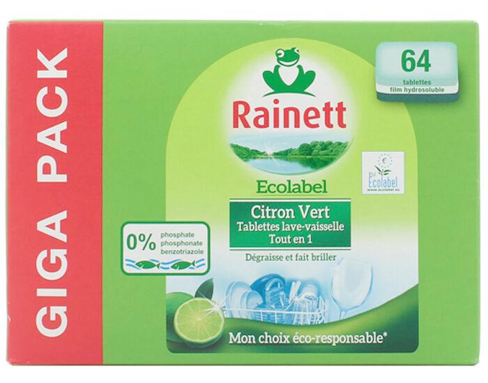 RAINETT Tablettes Lave Vaisselle Tout en 1 Citron Vert - x64