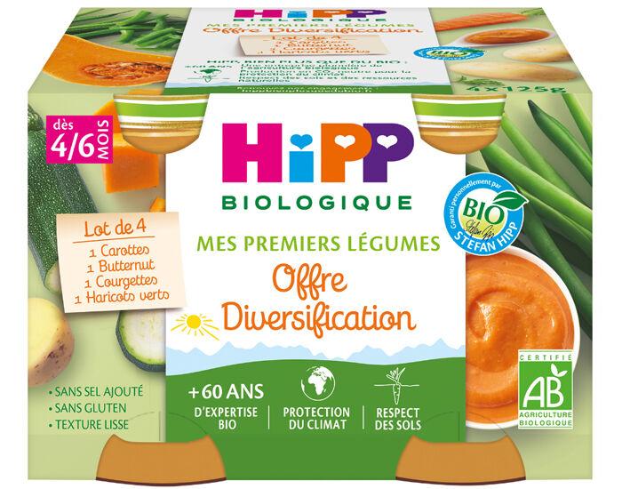 HIPP Mes Premiers Légumes - Carotte, Haricots Verts, Courgettes et Potiron - 4 x 125 g
